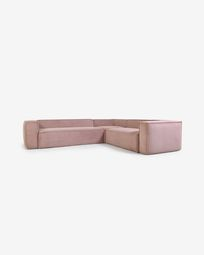 Blok 5-seater corner sofa in pink corduroy, 320 x 290 cm