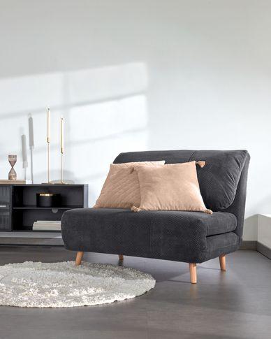 Keren sofa bed with corduroy effect in dark grey 106 cm