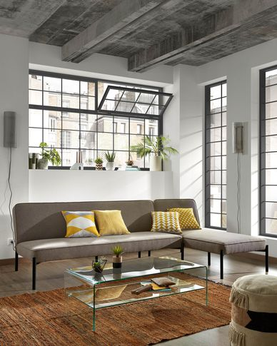 Nelki sofa bed and chaise longue in grey