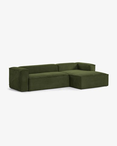 Blok 3-seater sofa with right-hand chaise longue in green thick corduroy 300 cm