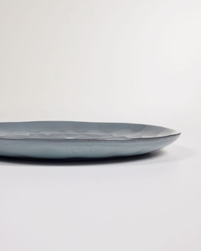 Airena flat ceramic plate in blue