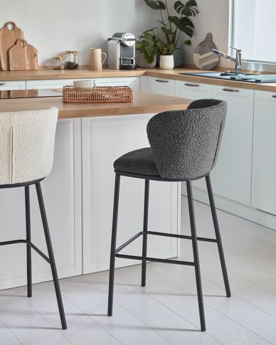 Ciselia stool with black shearling and black metal, height 102 cm