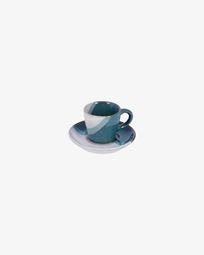 Taza de café con plato Nelba blanco y azul