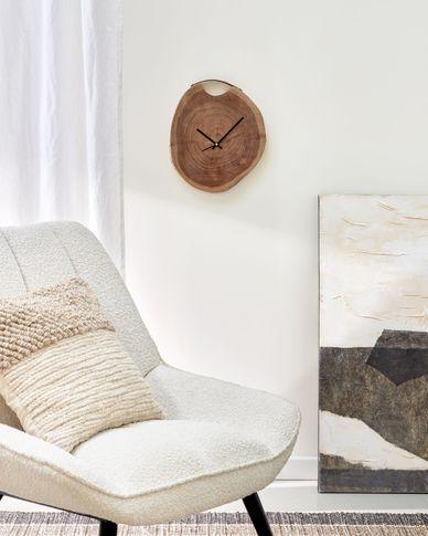 Reloj de pared redondo Yuliana de madera maciza de acacia Ø 35 cm