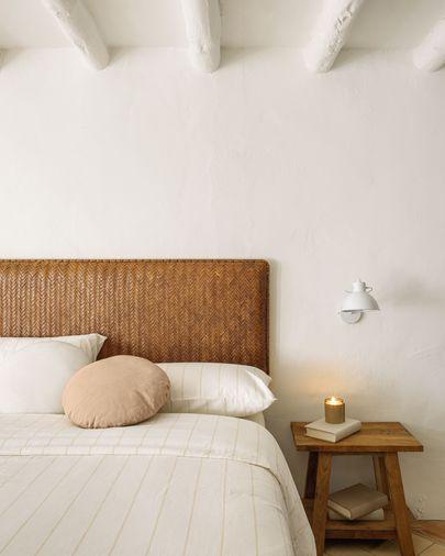 Cabeceira Natesa madeira maciça teca e couro 163 x 60 cm