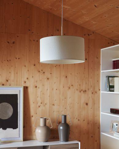 Pantalla lámpara de techo Santana de borrego blanco Ø 40 cm