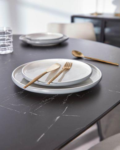 Sadashi porselein dessertbord grijs-wit