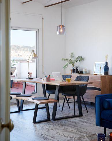 Alaia Tisch 200 x 95 cm aus massivem Akazienholz und schwarzen Stahlbeinen