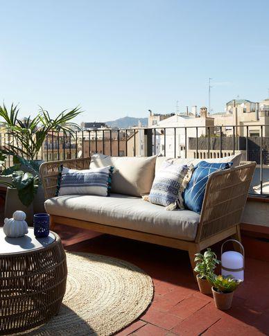 Belleny solid eucalyptus 3-seater sofa in beige 176 cm (100% FSC)