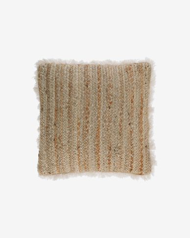 Clidia jute cushion cover with cotton fringe 45 x 45 cm