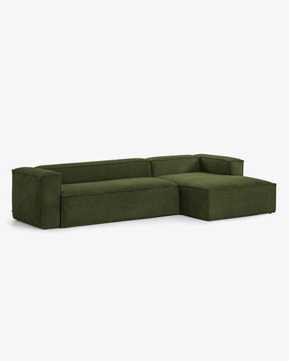 Sofá Blok 3 plazas chaise longue derecho pana gruesa verde 330 cm