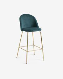 Turquoise velvet Ivonne stool height 76 cm
