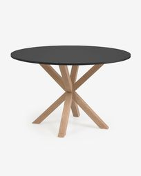 Full Argo round Ø 119 cm black laquered DM table with steel legs with wood-effect finish