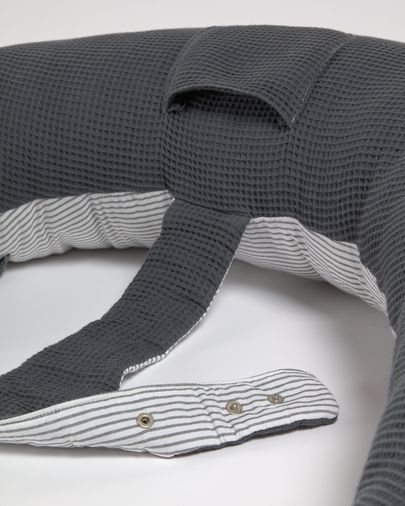Cojín de lactancia Madinna 100% algodón orgánico (GOTS) rayas gris