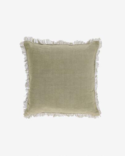 Funda coixí Almira cotó i lli serrells verd 45 x 45 cm