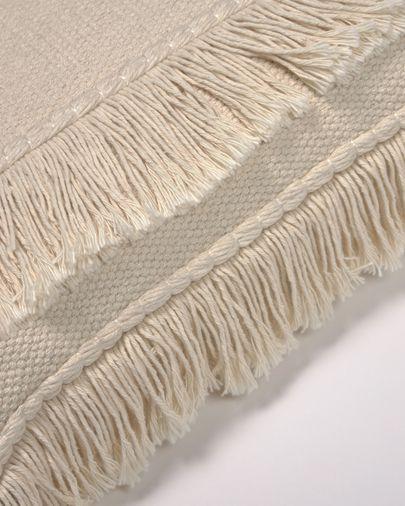 Housse de coussin Edelma 100% coton beige avec franges de 45 x 45 cm