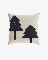 Saori 100% organic cotton (GOTS) big trees cushion cover in black 45 x 45 cm
