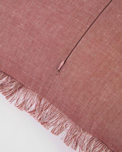 Funda cojín Abinadi de algodón y lino flecos terracota 45 x 45 cm