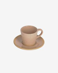 Tilla ceramic coffee cup with plate in beige