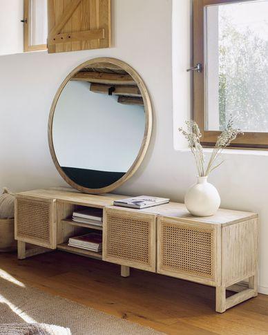 Aluin ronde spiegel massief hout mindi Ø 100 cm