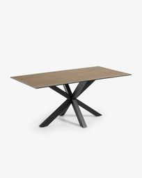 Argo Tisch 180 cm, Porzellan, Eisen Rost Finish, mit schwarzen Tischbeinen
