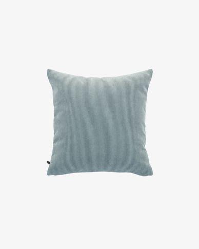 Fodera cuscino Namie 45 x 45 cm velluto a coste turchese