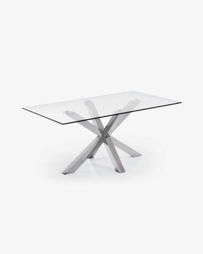 Argo Tisch 160 cm, Glas, mit Tischbeinen aus rostfreiem Stahl
