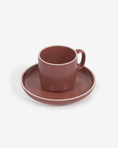 Taza de café con plato Roperta de porcelana terracota