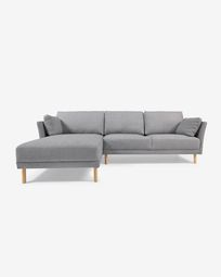 Gilma grey 3-seater sofa with left-hand chaise longue and legs with natural finish 260 cm