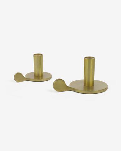 Set Adabella de 2 candelabros de aluminio dorado 6 cm y 8 cm