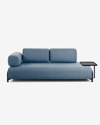 Blue 3 seaters Compo sofa wiht big tray 252 cm