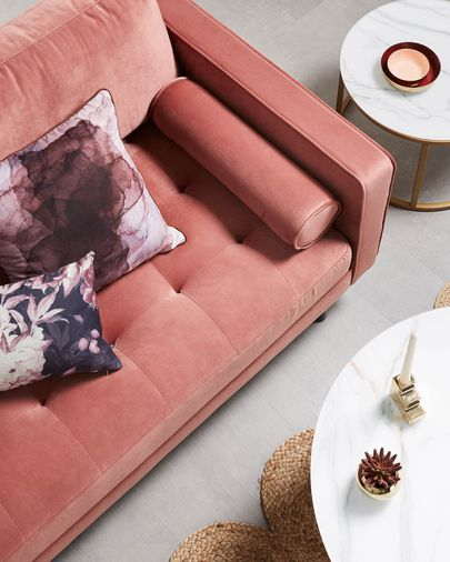 Debra 2-zits sofa in fluweel roze 182 cm