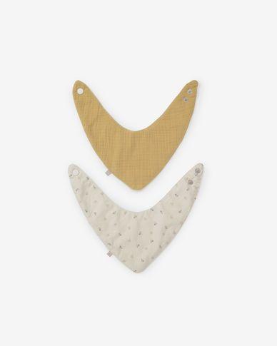 Yamile set van 2 bandana's biologisch katoen GOTS mosterd en beige met gekleurde bladeren
