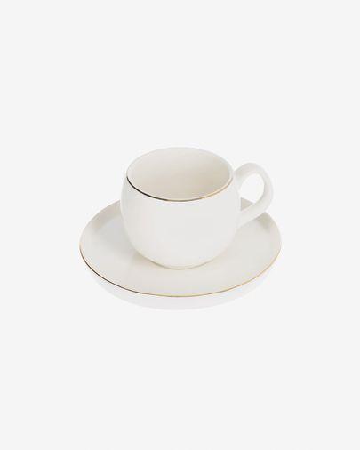 Chávena de café Taisia com pires de porcelana branco