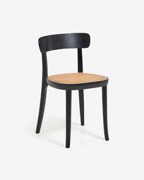 Cadeira Romane madeira maciça de faia preto com chapa de freixo e ratã