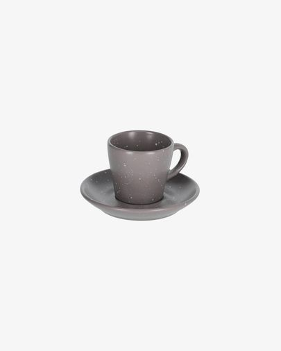 Tassa de cafè amb plat Aratani gris fosc