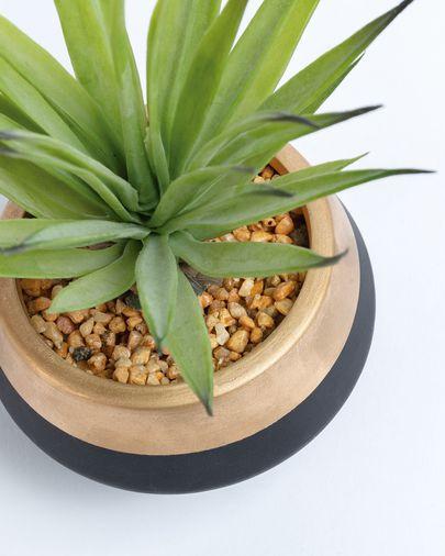 Künstliche kleine Palme im schwarz und gold Keramiktopf