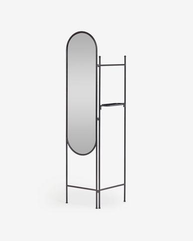 Paravento Vaniria in metallo nero con specchio 82 x 183 cm