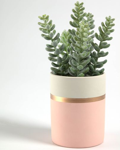 Artificial Sedum lucidum plant in pink ceramic pot