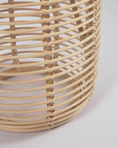 Mesa auxiliar redonda Kohana de ratán con acabado natural Ø 46 cm