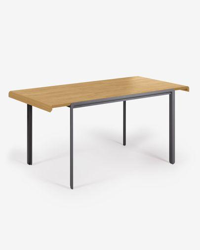 Nadyria extendable table with oak veneer and steel legs 120 (160) x 80 cm