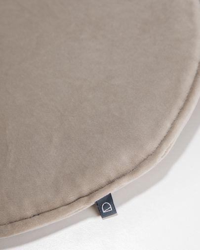 Cojín para silla redondo Rimca terciopelo topo Ø 35 cm