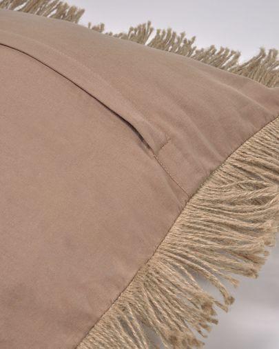 Funda de cojín Delcie beige con flecos de yute de 60 x 60 cm