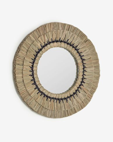 Akila round mirror made from beige natural fibres and black cotton cord, 70 cm