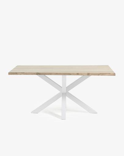 Argo Tisch 180 cm, gebleichte Eiche, weisse Tischbeine
