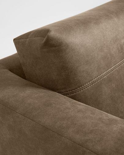 Canapé Tanya 2 places rembourré en tissu marron foncé 183 cm
