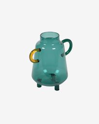Iarena turquoise and multicoloured glass vase 14,5 cm