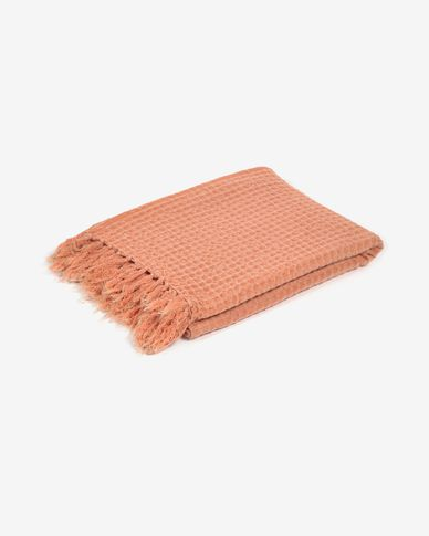 Manta Shallow 100% algodón naranja de 130 x 170 cm