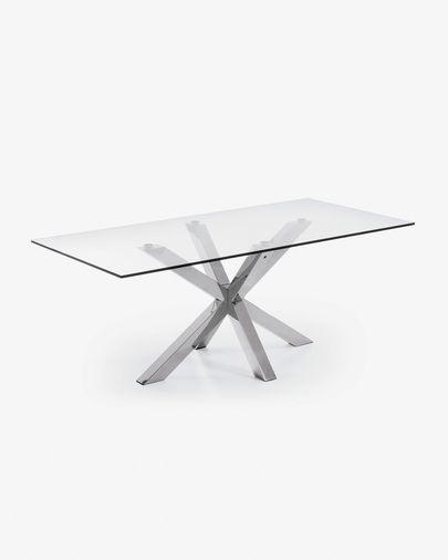 Argo tafel 200 cm glas roestvrij benen