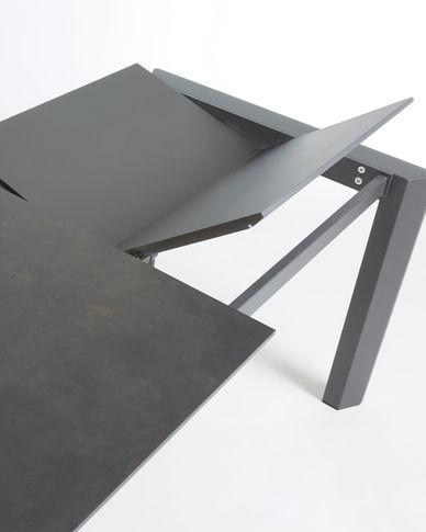 Axis uitschuifbare tafel 140 (200) cm porselein afwerking Vulcano Roca antraciet benen